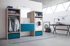 Laundry room cabinet with sink By ARBLU Laundry Room Cabinets, Laundry Room Organization, Laundry Room Design, Laundry In Bathroom, Domestic Appliances, Home Appliances, Open Shelving Units, Basin Unit, Washing Machine And Dryer