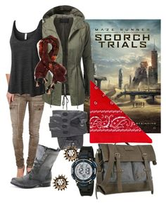 Scorch Trials by sian-valadian on Polyvore featuring LE3NO, Dittos, Sherpani, NLY Accessories, BAY SKY, MazeRunner, tmr, thescorchtrials, ScorchTrials and Readyforscorch