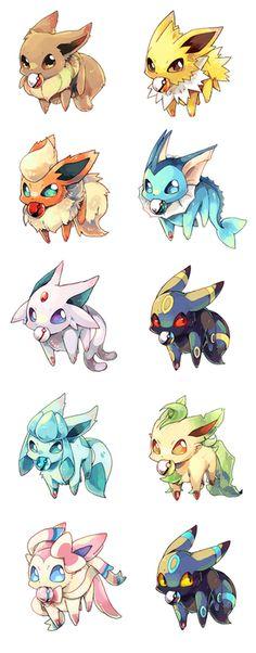 Pokemon eevee evolutions Eeveelutions as babies Pokemon Eevee Evolutions, O Pokemon, Pokemon Memes, Pokemon Fan Art, Pokemon Cards, Pokemon Fusion, Pokémon Kawaii, Anime Kawaii, Leo Zodiac