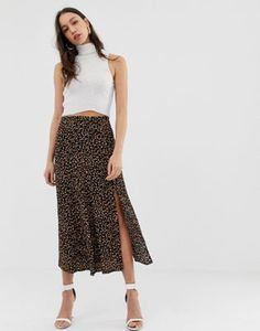 5b2be85a87e984 Image 1 of New Look Tall polka dot midi skirt in black Asos, Rock,