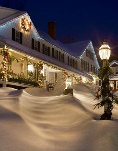 snow covered inn