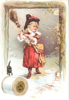 SCARCE ANTIQUE HALLOWEEN TRADE CARD J&P COATS 6 CORD THREAD GIRL WITCH BROOM WEB