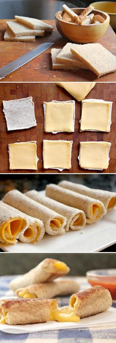 grilled cheese rolls- perfect snack for dipping in tomato soup! I Love Food, Good Food, Yummy Food, Grilled Cheese Rolls, Grilled Cheese Sticks, Grilled Cheeses, Tapas, Snack Recipes, Cooking Recipes