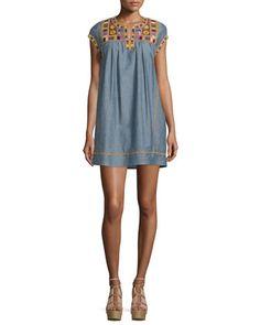 Ariadne+Embroidered+Shift+Dress,+Dark+Chambray+by+Calypso+St.+Barth+at+Neiman+Marcus.