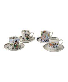 Love this Alice in Wonderland Eight-Piece 6-Oz. Cup & Saucer Set on #zulily! #zulilyfinds