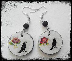 "havranka / earrings ""The Crow & The Rose"""