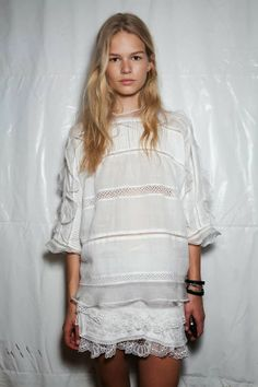 Isabel Marant spring 2014...just got a similar top.. love the white flowy hippie chic look for LA nights...