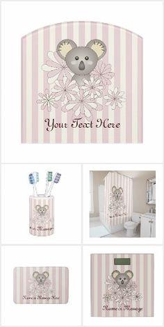 Baby Koala Pastel Pink Stripes Kids Bathroom Accessories