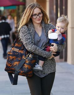Hilary Duff Takes Luca To The Doctors wearing Splendid, and Marc by Marc Jacobs diaper bag. Love her!