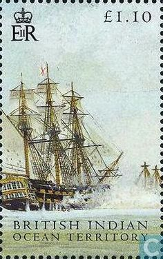 Stamps - British Indian Ocean Territory - Battle of Trafalgar 2005 British Overseas Territories, British Indian Ocean Territory, Going Postal, Nautical Art, Vintage Stamps, Seascape Paintings, Stamp Collecting, Mail Art, Science Nature