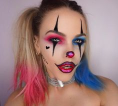 Source: Half Harley Quinn Half Joker Halloween Hair And Makeup Tutorial Maquillage Halloween Clown, Halloween Makeup Clown, Amazing Halloween Makeup, Halloween Halloween, Halloween Costumes, Cute Clown Costume, Harley Quinn Halloween, Halloween Inspo, Vintage Halloween