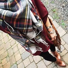 Blanket scarves,fringe, and great boots make our day!