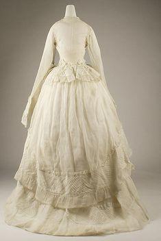 Wedding dress Date: 1873 Culture: American Medium: cotton