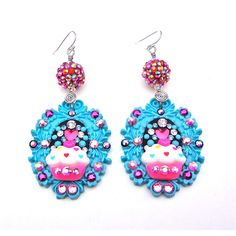 Huge blue pink cupcake earrings - large sparkly funky earrings -... ($27) ❤ liked on Polyvore featuring jewelry, earrings, rhinestone jewelry, blue earrings, blue rhinestone earrings, blue bead earrings and long rhinestone earrings