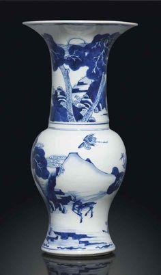 A blue and white 'phoenix tail' vase, Kangxi period (1662-1722)