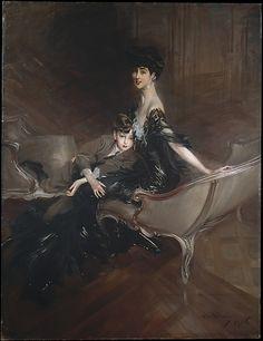 Consuelo Vanderbilt (1876–1964), Duchess of Marlborough, and Her Son, Lord Ivor Spencer-Churchill (1898–1956) - by Giovanni Boldini (Italian, Ferrara 1842–1931 Paris)