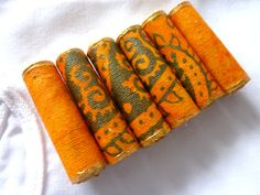 Paper art beads unique hand rolled tube beads Handmade Paper Bead - set of 6 (3.00 GBP) by shelikesthis