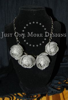 Grey Felt Flowers on Chain Necklace