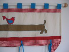 Cute dachshund dog bird kids room,nursery valance - Tab top window treatment - Red turquoise curtain
