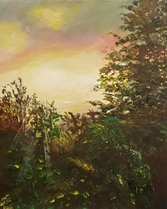 """Summer Sunset, 16""""x20"""" acrylic painting on a stretched canvas. 1 3/8"""" edge, also painted."""