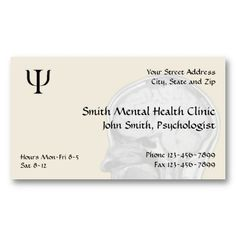 Psychiatrist Mental Health Business Card. Check out more business card designs at http://www.zazzle.com/business_creations or at http://www.zazzle.com/businesscardscards