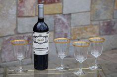 Vintage GOLD RIMMED Champagne Rose' Wine by Antiquevintagefind