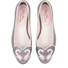 Grey SUEDE FLAMINGO HEART Ballet Flats ($255) ❤ liked on Polyvore featuring shoes, flats, gray ballet flats, flat pumps, gray suede flats, ballet flat shoes and suede flats