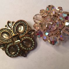Bundle of 2 antique brooches Lovely pink brooch in Pantone's color of the year.  Green estate sale brooch. Jewelry Brooches