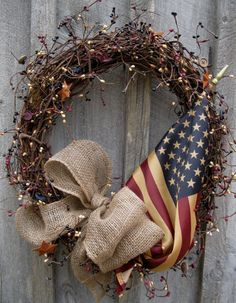 Art Americana Rustic Country Cottage Wreath with by procelebrations crafts Wreath Crafts, Diy Wreath, Diy Crafts, Wreaths, Wreath Fall, Homemade Crafts, Summer Wreath, Patriotic Wreath, Patriotic Decorations