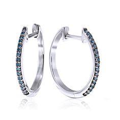 0.25t Natural Blue Diamond 10k Solid White Gold Hoop Earrings #gemdepot #Hoop #BlackFridaysDeals