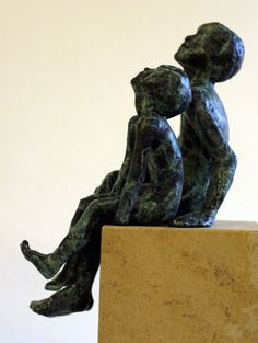 Bronze on ancaster #sculpture by #sculptor Alison Bell titled: 'Looking at the Stars (father and child sculptures)'. #AlisonBell