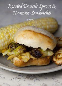 Vegan Roasted Brussels Sprout & Hummus Sandwich