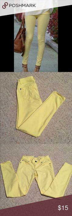 Light Yellow Jeans Worn a couple of times, I just don't fit anymore. In great condition. Size 25. Purchased from shophopes. Brand is Scarlet Boulevard. Scarlet Boulevard Jeans Skinny