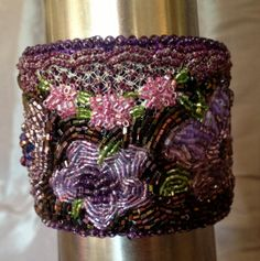 Purple Beaded Bracelet Beaded Cuff Seed Bead by bjswearableart, $60.00