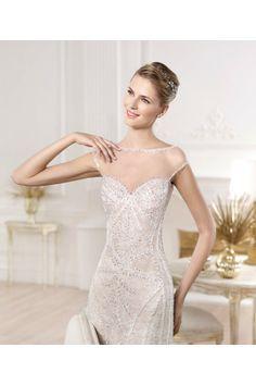 Sexy bateau cap sleeve gemstone embroidery sheer back wedding dresses - Wedding Dresses