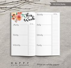 Printable Weekly Planner, Personal Weekly Planner, Printable Personal Notebook Weekly planner inserts, PDF file