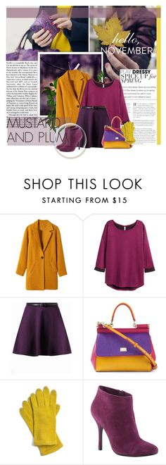"""Mustard and Plum"" by lisannevicious ❤ liked on Polyvore featuring H&M, Dolce&Gabbana, Echo and ALDO"