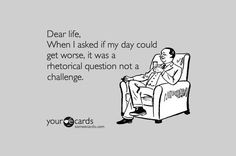 Dear life, when I asked if my day could get worse, it was a rhetorical question not a challenge. 45 Funny Sarcastic Quotes to Insult Your Facebook Friends