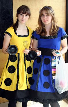 Me:  okay, these girls are awesome.  Went out shopping in Dalek dresses, though I do assume the plungers were picked up afterwards. XD    Orig. text Sadly, not many of my friends would understand this. But it would make a great apron!