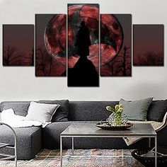 Anime Naruto Itachi Uchiha Moon Framed 5 Piece Canvas Wall Art Image Picture Wallpaper Mural Decoration Artwork Poster Decor Print Painting Photography - XLarge / Framed