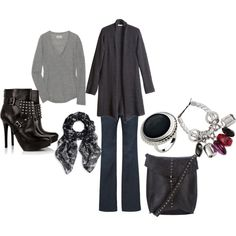 Black cardigan outfit. Love everything but the shoes!