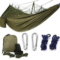 Double Camping Hammock with Hammock Tree Straps Portable Lightweight and Compact Mosquito Hammocks for Backpacking Travel Beach Yard -- For more information, visit image link. (This is an affiliate link) Camping Cot, Camping World, Family Camping, Outdoor Camping, Indoor Outdoor, Camping Hammock, Hammocks, Rain Camping, Camping Places
