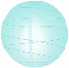 """8"""" Artic Blue Irregular Ribbed Paper Lantern"""