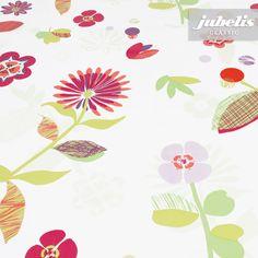 jubelis® Wachstuchrollen und Tischdecken nach Maß Blumenmuster Denise rot und pink