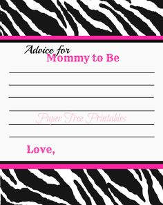 Hot Pink Zebra Baby Shower Advice Cards by PaperTreePrintables, $5.00
