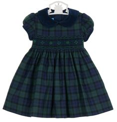 NEW Anavini Blackwatch Plaid Smocked Dress with Navy Velvet Collar $85.00