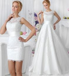 7e4b82b90a Charming A Line 2015 Wedding Dresses with Detachable Skirt Amelia Sposa  Applique Sheer Crew Neck Simple Lace Bridal Dress Ball Gowns Online with ...