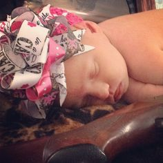 Pink Camo Baby Girl Bow Crocheted Headband via Etsy
