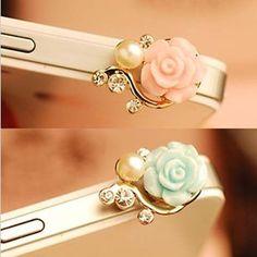 Pink - Rose Rhinstone Pearl Moblie Phone Headset
