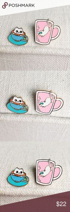 """Beverage Cats Pin Pair Set of 2 adorable enamel pins for cat lovers! A """"cat-puccino"""" kitty sitting in a cup of coffee and a cat scuba diving in a pink drink Jewelry Brooches"""